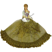Victorian Die cut Lady with Umbrella Crepe Paper/Glitter/Net