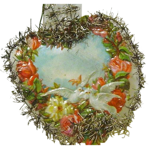 """Victorian Die cut """"Valentine"""" Christmas Heart, Roses & Dove"""