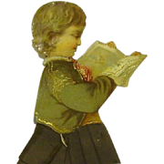 Vintage Christmas with Boy Reader with Cloth Decoration