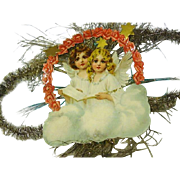 "Victorian Die Cut Christmas "" Angels on High"" Decoration"