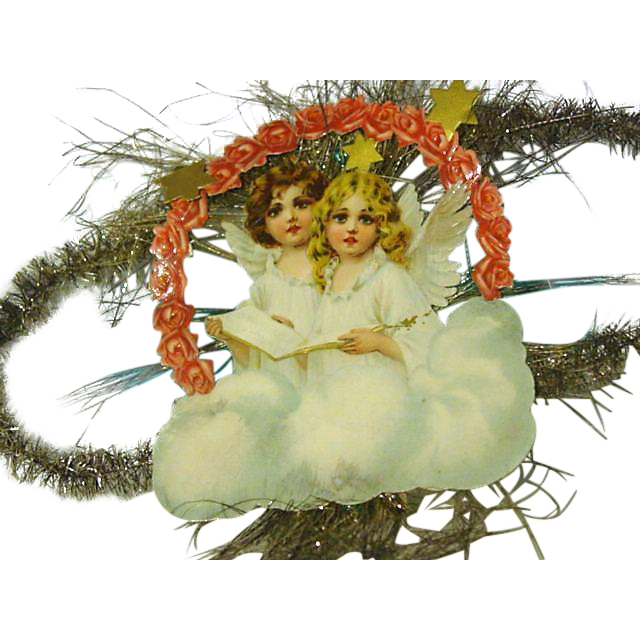 """Victorian Die Cut Christmas """" Angels on High"""" Decoration"""