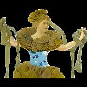 RARE Original Victorian Harlequin Paper Doll