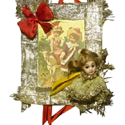 Vintage Mignonette Doll Head Card Ornament