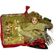 Vintage Mignonette Doll Head Card Ornament #2