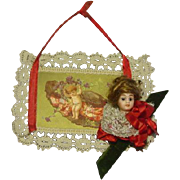 Vintage Mignonette Doll Head Card Ornament #3