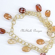 Natural Hessonite Gold Filled Vermeil Charm Bracelet