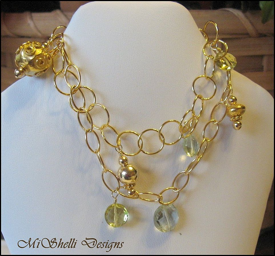 Lemon Quartz Green Amethyst Vermeil Gold Filled Double Bracelet