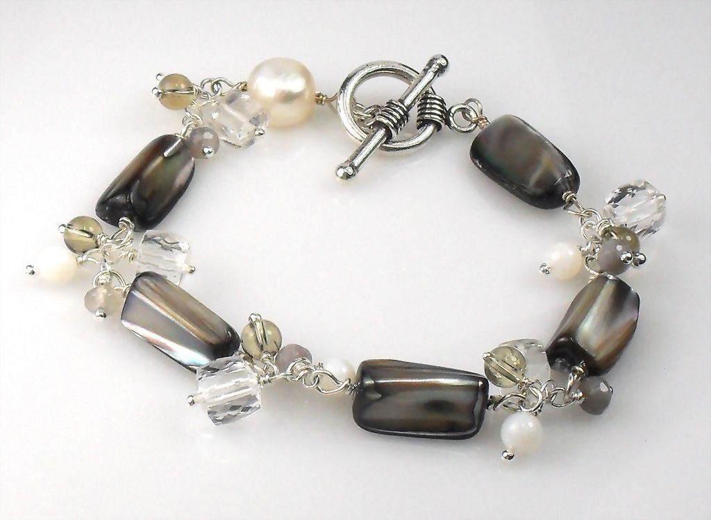 Mother of Pearl Quartz Botswana Sterling Bracelet