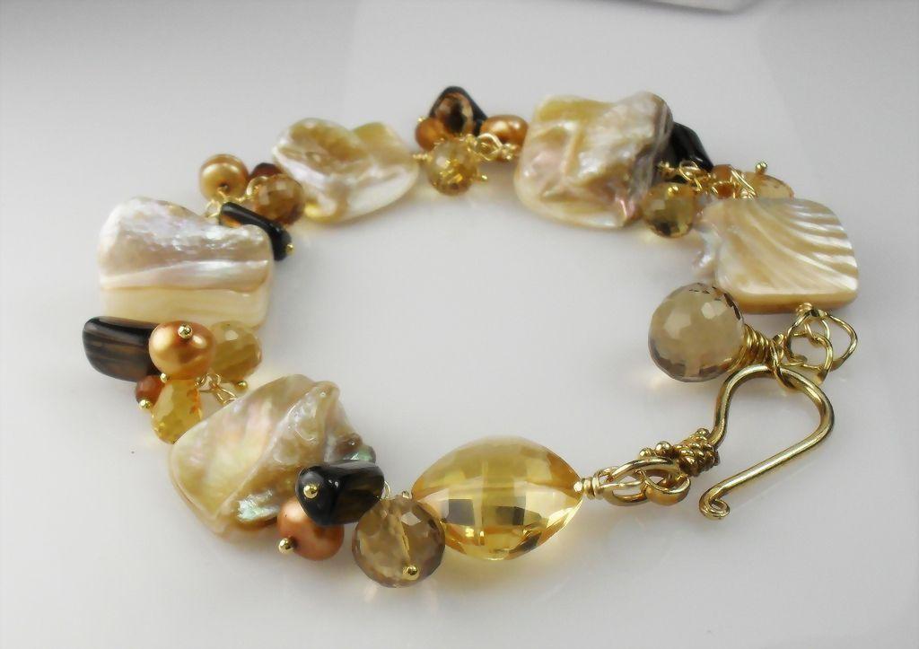 Creamy Mother of Pearl Citrine Hessonite Quartz Vermeil Bracelet