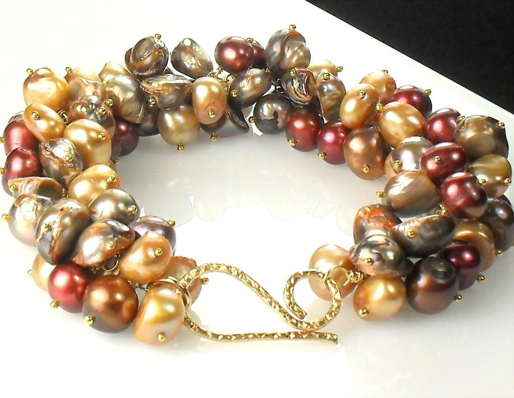 25% OFF Holiday Sale Fall Pearl Cluster Vermeil Bracelet