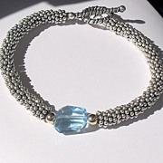 Blue Topaz Gemstone Nugget Sterling Bracelet