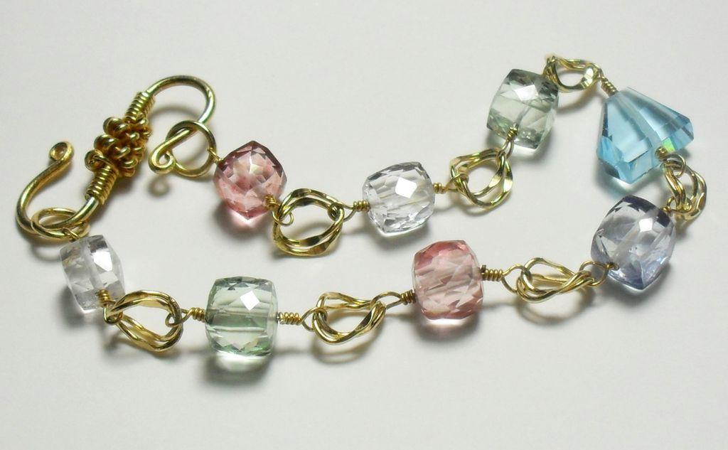 Blue Topaz Pink Green Quartz Bracelet