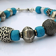 Chunky Turquoise Sterling Balinese Bracelet