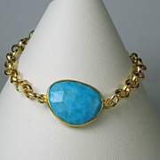 Turquoise Gemstone Bezel Gold Filled Bracelet