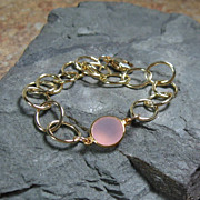 Pink Chalcedony Gemstone Gold Filled Bracelet