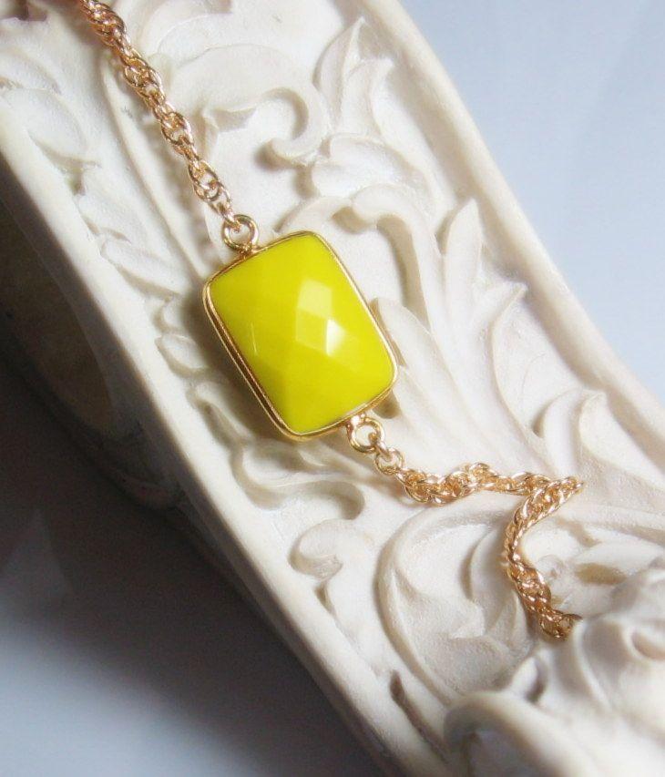 Yellow turquoise Gemstone Bezel Bracelet