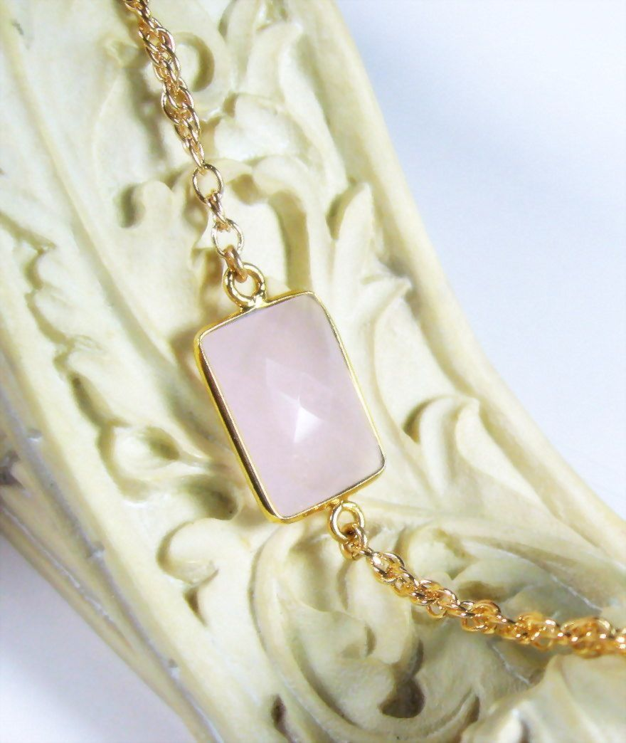 Natural Rose Quartz Gold Dipped Gemstone Bracelet