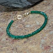 Green Onyx Gemstone Summer Layering Gold Bracelet