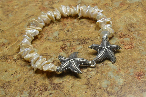 Keishi Pearl Starfish Bracelet, Sterling Silver