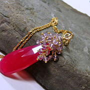 Spring Blossoms Red Chalcedony Amethyst Gemstone Cluster Necklace