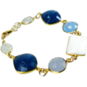 White Chalcedony Quartz Gold Statement Bracelet