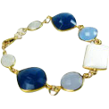 White Chalcedony Quartz Gold Statement Bracelet