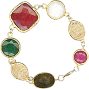 Vibrant Colorful Gemstone Statement Bracelet 14k Gold Vermeil
