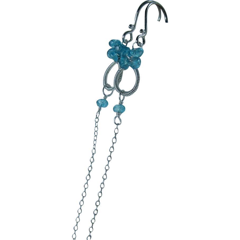 "Swiss Blue Topaz ""Sweet Petites"" Long Dangles"
