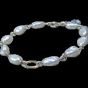 14K Gold White Freshwater Pearl Bracelet, Aquamarine, wire wrapped, bridal, aquamarine, yellow gold