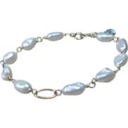 14K Gold White Freshwater Pearl Bracelet, Aquamarine, wire wrapped, bridal, aquamarine, yellow gold