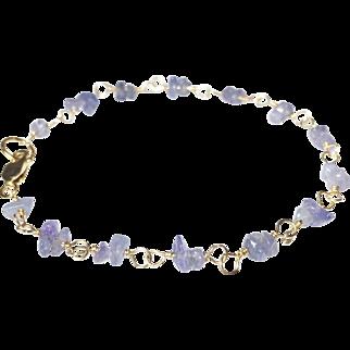 Tanzanite Gold Bracelet, December Birthstone