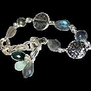 Labradorite Silver Bracelet, Sterling and Bali Linked Bracelet