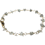 Labradorite Gemstone Bracelet in Gold Fill, Petite