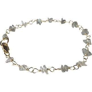 Labradorite Gemstone Bracelet in Gold Fill, Petite