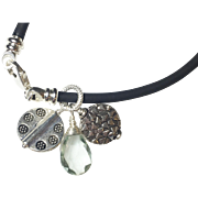 Green Amethyst Charm Bracelet, Rubber Cord, Sterling Silver