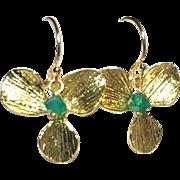 Green Onyx Gold Flower Drop Earrings