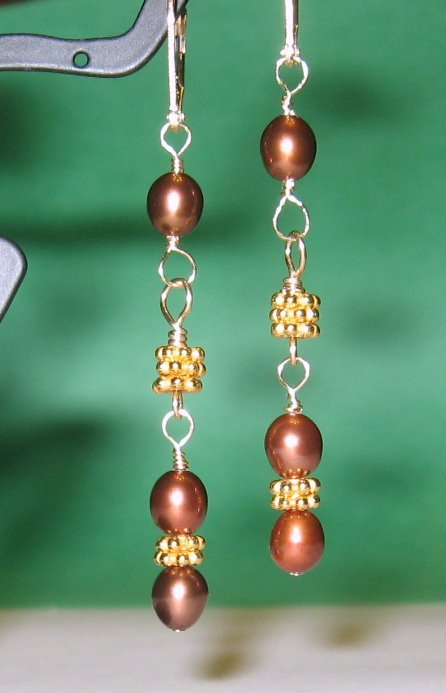 CLEARANCE 50% Off Brown Freshwater Pearl Gold Vermeil Dangle Earrings