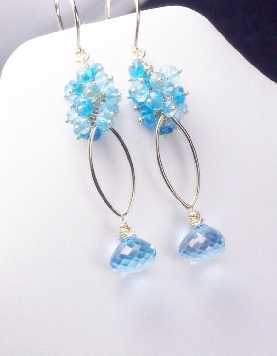 Blue Topaz Apatite Gold Filled Vermeil Dangle Earrings