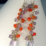 Amethyst Carnelian Gemstone Vermeil Dangle Earrings