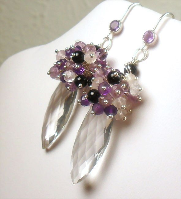 Statement Earrings Purple and Light Amethyst Quartz Crystal Onyx Sterling Cluster Earrings