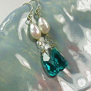 14K Gold Teal Quartz Pearl Earrings