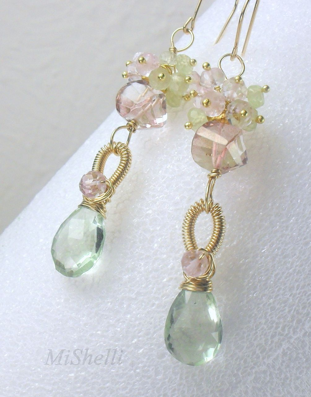 Green Pink Quartz Amethyst Prehnite Gemstone Gold Filled Dangle Earrings