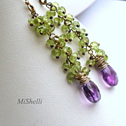 Peridot and Amethyst Oxidized Sterling Silver Dangle Earrings