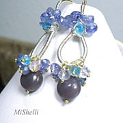 Purple Jasper Tanzanite Apatite Rose Quartz Sterling Earrings