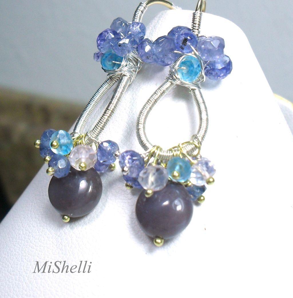 Purple Jasper Tanzanite Apatite Rose Quartz Sterling Earrings