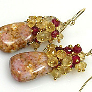Garnet and Lemon Quartz Gemstone Cluster Vermeil Earrings
