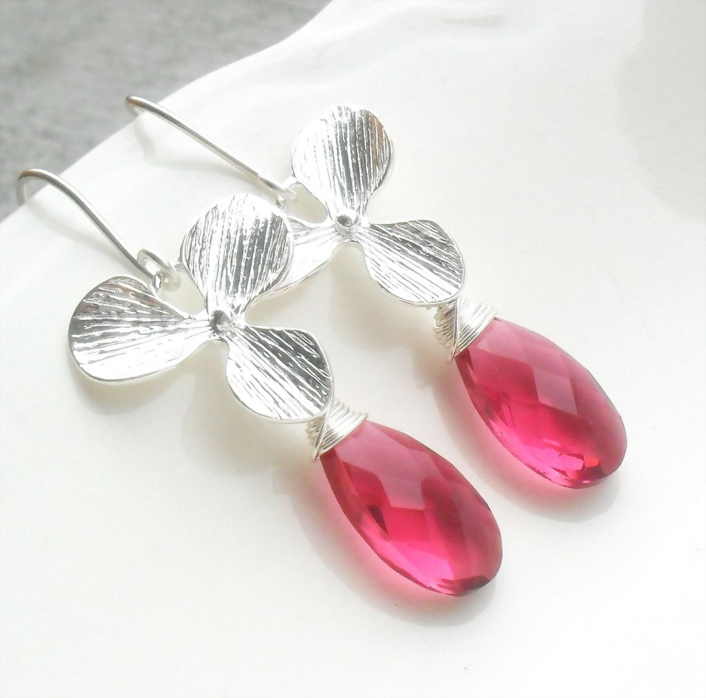 Ruby Red Quartz Sterling Orchid Earring