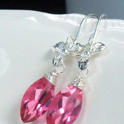 Hot Pink Quartz Sterling Orchid Dangle Earrings