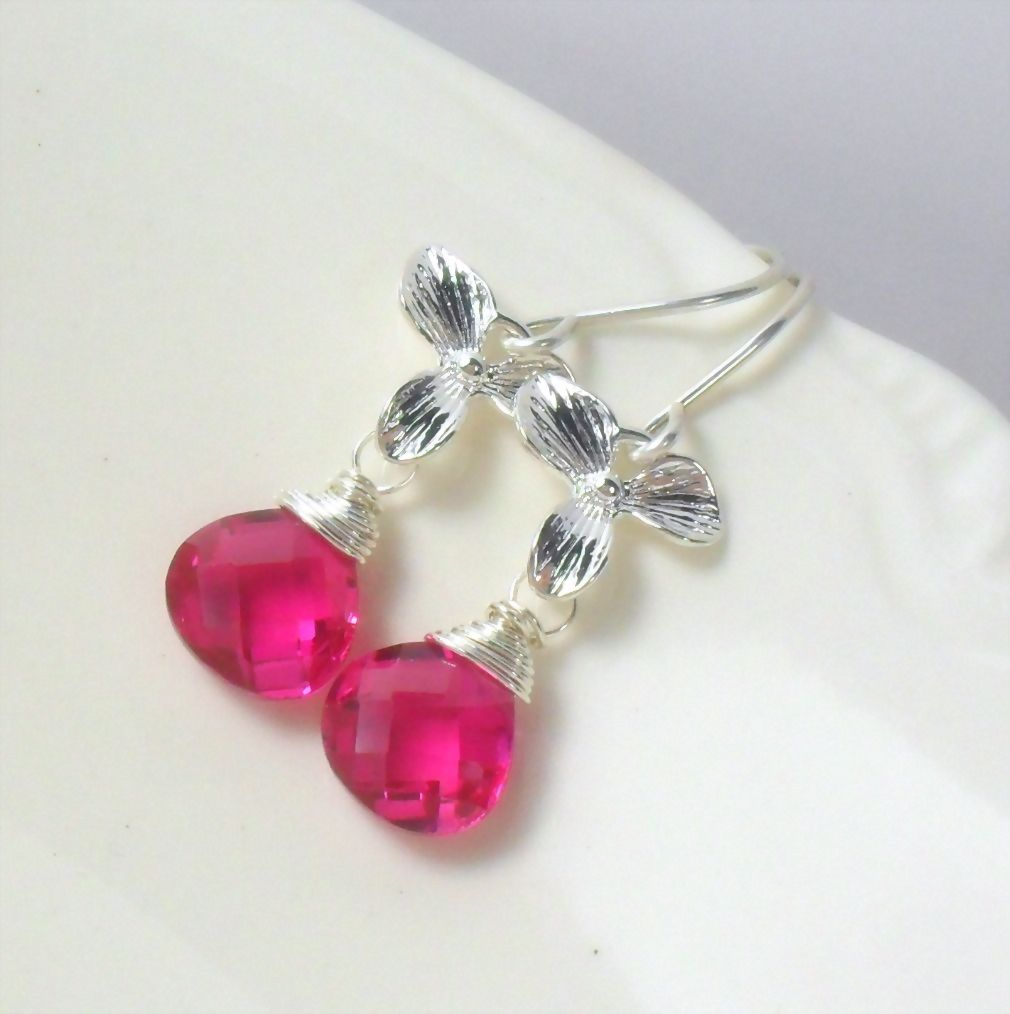 WINTER CLEARANCE Hot Pink Quartz Orchid Sterling Dangle Earrings