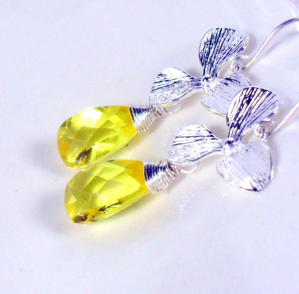 Yellow Quartz Orchid Sterling Dangle Earrings
